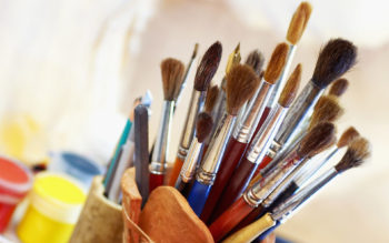 High angle view of paintbrushes in a holder